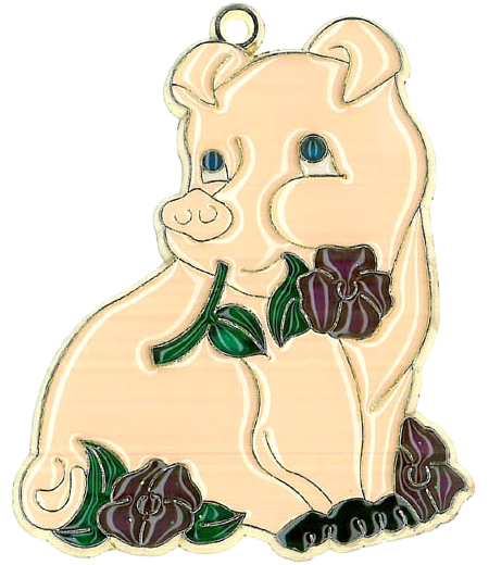 Pig with Flowers - Suncatcher