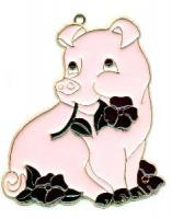 Pig with Flowers (Large) - Suncatcher